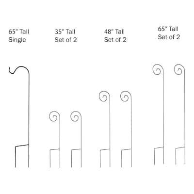 65 in. Metal Shepard's Hook with Dual Stakes