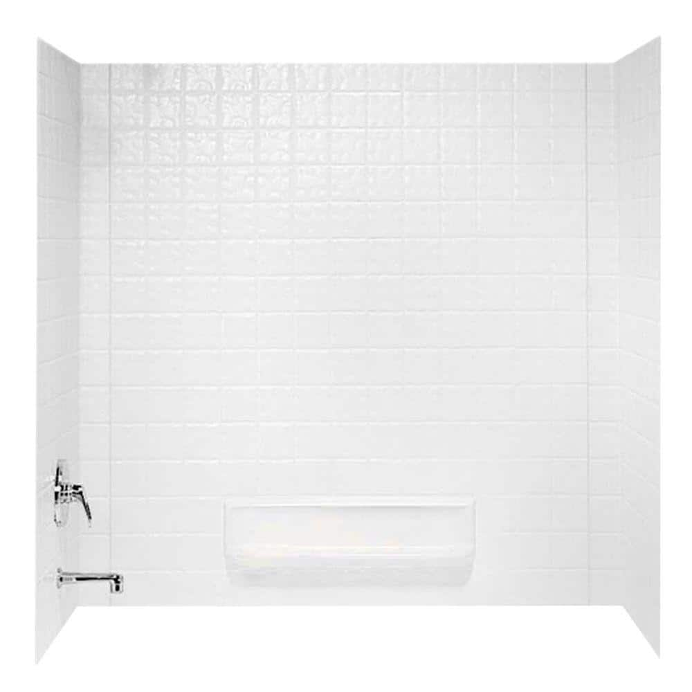 Swan 30 In X 60 In X 59 6 In 3 Piece Square Tile Easy Up Adhesive Alcove Tub Surround In White Ti 3 010 The Home Depot