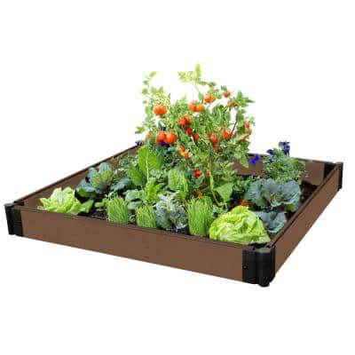 One Inch Series 4 ft. x 4 ft. x 5.5 in. Uptown Brown Composite Raised Garden Bed