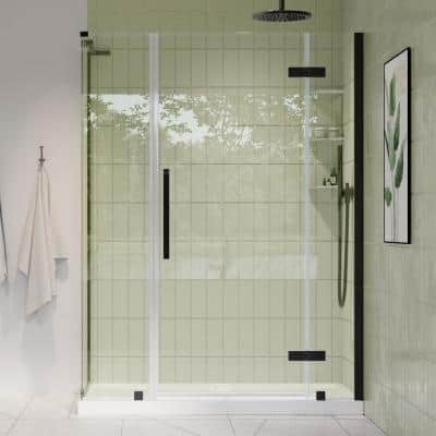Tampa 54 in. L x 32 in. W x 72 in. H Corner Shower Kit with Pivot Frameless Shower Door in ORB and Shower Pan