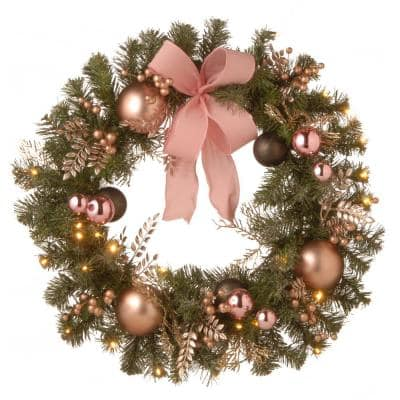 28 in. Decorated Pine Wreath with Bow, Gold Ornaments, Berries and LED