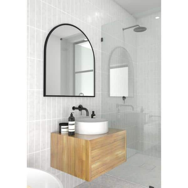 H Framed Arched Bathroom Vanity Mirror, Black Bathroom Mirrors