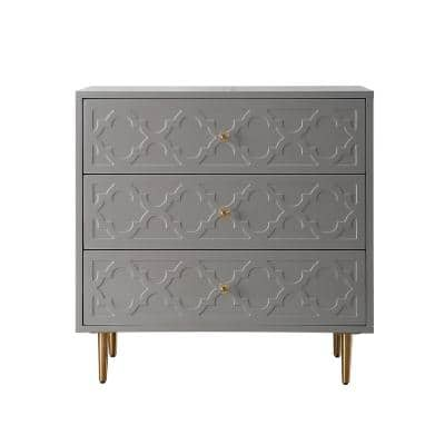 High Gloss 3-Drawers Dark Gray Pattern Storage Table Accent Cabinet