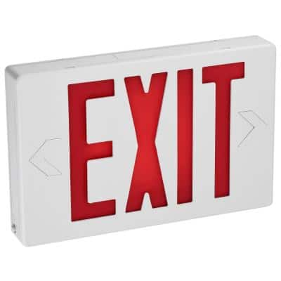 120-Volt Integrated LED with Rechargeable NiCd Battery White Exit Sign