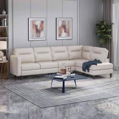 Ledgemere 3-Piece Beige Fabric 4-Seat L Shaped Right Facing Sectionals with Armrests