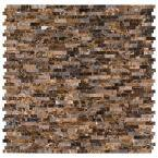 Emperador Split Face Peel and Stick 12 in. x 12 in. x 6 mm Mixed Marble Mosaic Tile (15 sq. ft. / case)