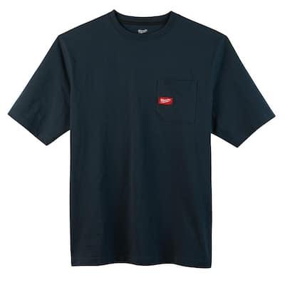 Men's Small Blue Heavy-Duty Cotton/Polyester Short-Sleeve Pocket T-Shirt