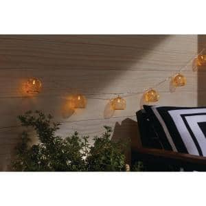 Indoor 12 ft. Battery Operated Metal Integrated LED String Lights (10-Light)