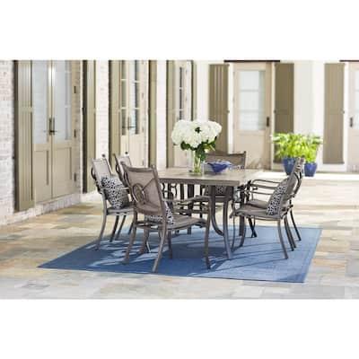 Wilshire Estates 7-Piece Aluminum Sunbrella Sling Outdoor Dining Set