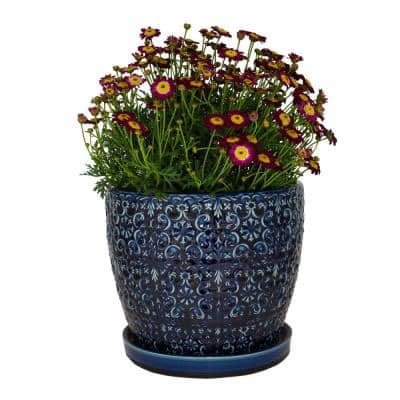 10 in. Dia Blue Mediterranean Bell Ceramic Planter