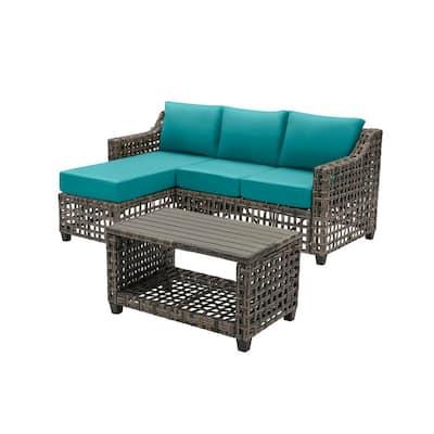 Briar Ridge 3-Piece Brown Wicker Outdoor Patio Sectional Sofa with Sunbrella Peacock Blue-Green Cushions