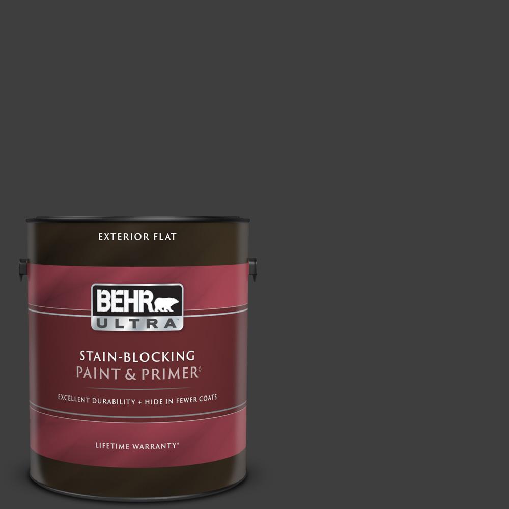 1 gal. #T13-3 Black Lacquer Flat Exterior Paint & Primer