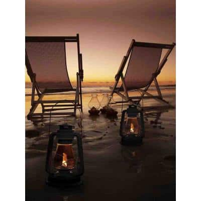 15.75 in. x 11.75 in. LED Lighted Sunset Beach Relaxation with Lanterns Canvas Wall Art