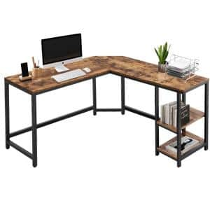 53.5 in. W Industrial L-Shaped Computer Writing Corner Desk with 2-Shelves