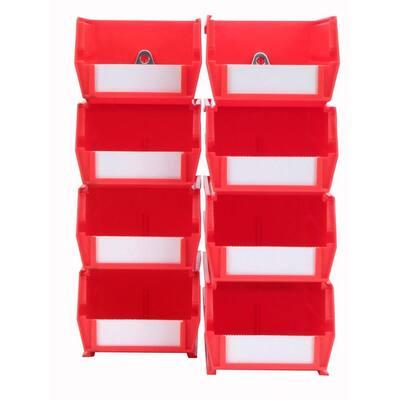 4-1/8 in. W x 3 in. H Red Wall Storage Bin Organizer (8-Piece)