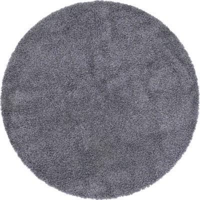 Davos Shag Peppercorn Gray 8 ft. x 8 ft. Round Area Rug