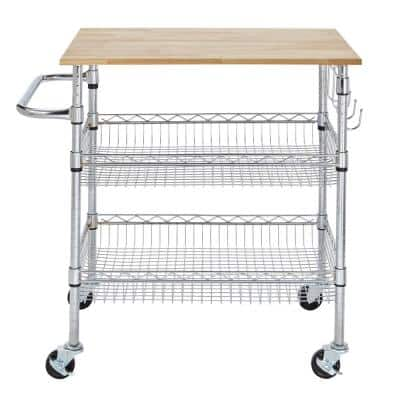 Gatefield Chrome Kitchen Cart with Natural Wood Top