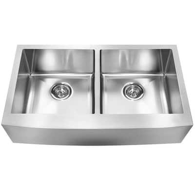 Farmhouse Undermount Stainless Steel 33.in 0-Hole 18-Gauge Double Bowl Kitchen Sink