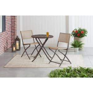 Mix and Match 3-Piece Folding Wicker Outdoor Bistro Set in Tan and Dark Taupe