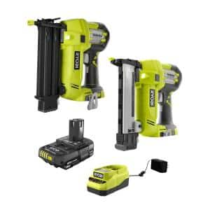 ONE+ 18V Cordless AirStrike 18-Gauge Brad Nailer and 18-Gauge Narrow Crown Stapler with 2.0 Ah Battery and Charger