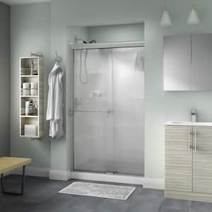 Portman 48 in. x 70 in. Semi-Frameless Traditional Sliding Shower Door in Nickel with Droplet Glass