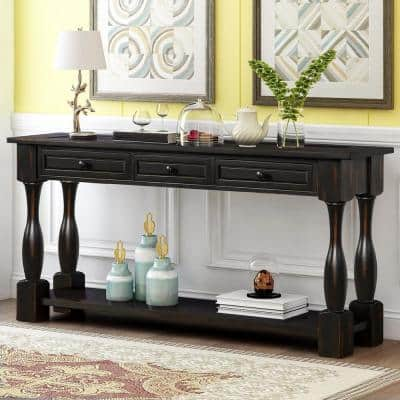 65 in. Black Standard Rectangle Wood Console Table with Drawers