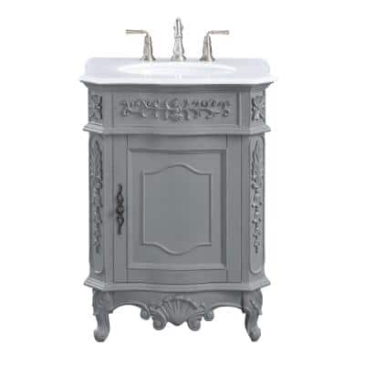 Winslow 26 in. W x 22 in. D Bath Vanity in Antique Gray with Vanity Top in White Marble with White Basin