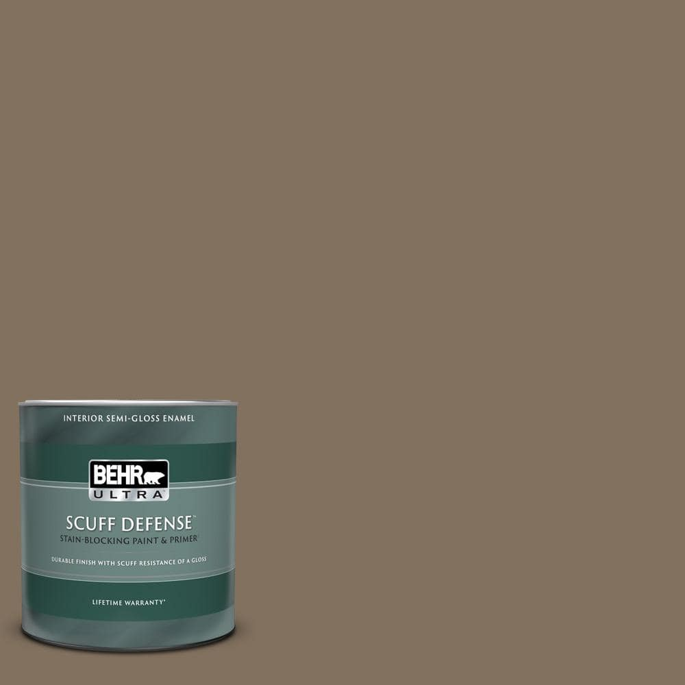 Behr Ultra 1 Qt Ppu5 04 Mocha Latte Extra Durable Semi Gloss Enamel Interior Paint Primer 375304 The Home Depot