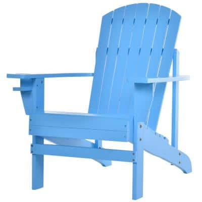 Blue Wood Adirondack Chair for the Deck with Ergonomic Design and a Built-In Cup Holder