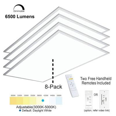 2 ft.x4 ft. 6500 Lumen 600W EquivalentWhiteDimmable Color Changing CCT Integrated LED Flat Panel Light Troffer(8-Pack)