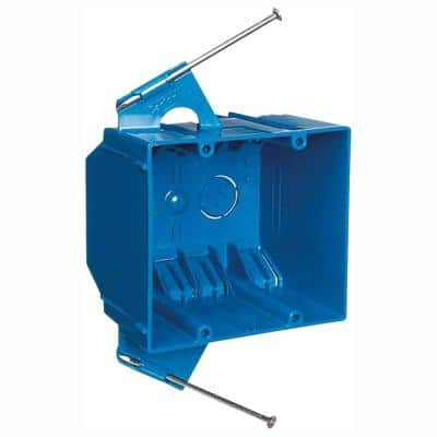 2-Gang 32 cu. in. Blue PVC New Work Electrical Switch and Outlet Box (Case of 50)