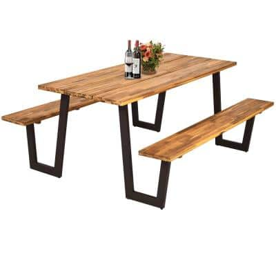 Table Shape Wood Outdoor Dining Table with 2 Benches 70 in.