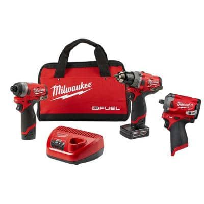 M12 FUEL 12-Volt Lithium-Ion Brushless Cordless Hammer Drill and Impact Driver Combo Kit (2-Tool) W/ Impact Wrench
