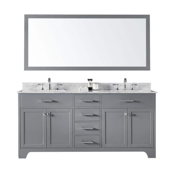 Exclusive Heritage 72 In Double Sink Bathroom Vanity In Taupe Grey With Carrara White Marble Top And Mirror Set Cl 10072d Wmtp The Home Depot