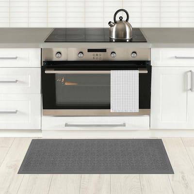 Fairmont Tiles Gray 20 in. x 36 in. Kitchen Mat