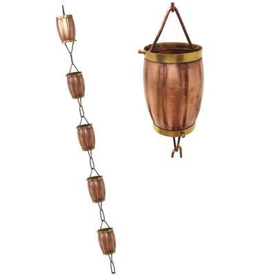 8.5 ft. Pure Copper 2-tone Rain Barrel Rain Chain