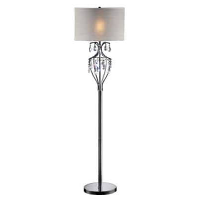 60 in. Chrome Refined Crystal Floor Lamp