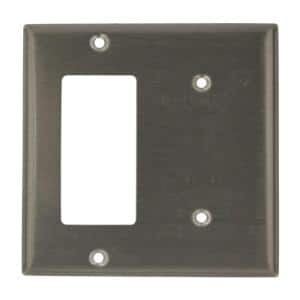 Stainless Steel 2-Gang 1-Toggle/1-Blank Wall Plate (1-Pack)