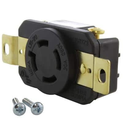 20 Amp 3-Phase 250-Volt L15-20R Flush Mount Locking Industrial Grade Outlet with UL and C-UL Certifications