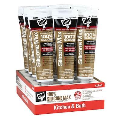 Silicone Max 2.8 oz. Clear Premium Kitchen and Bath Silicone Sealant (12-Pack)