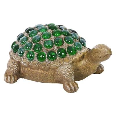 Green Beaded Turtle Garden Statue