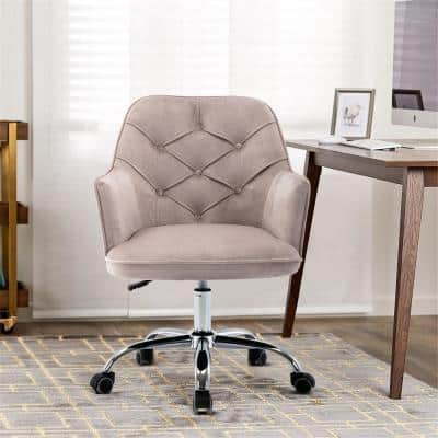 Lucky One Grey Velvet Swivel Adjustable Height Shell Arm Chair Cm 203 Gy The Home Depot