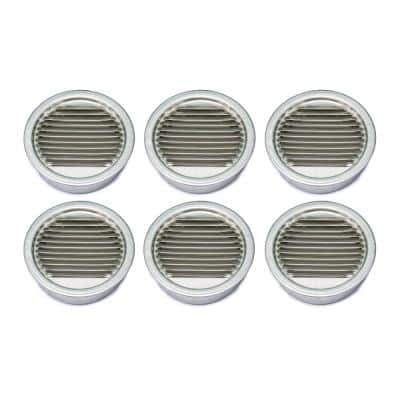 4.45 in. x 4.45 in. Round Mill Finish Weather Resistant Aluminum Soffit Vent