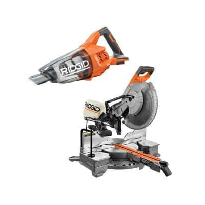 15 Amp Corded 12 in. Dual Bevel Sliding Miter Saw with 18V Cordless Hand Vacuum (Tool Only)
