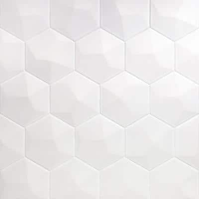 Bethlehem 3D Hexagon White 5.9 in. x 6.96 in. x 8mm Matte Ceramic Wall Tile (25 pieces / 5.4 sq. ft. / box)