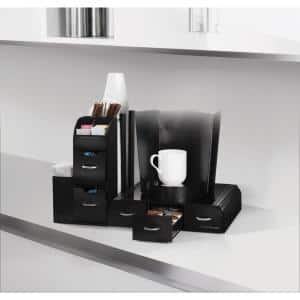 Combine 52-Capactiy 5-Drawer Black Coffee Pod Storage and Condiment Organizer