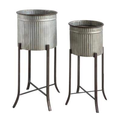 26.75 in. and 30 in. High Grey Corrugated Metal Planters on Stands (2-Pack)