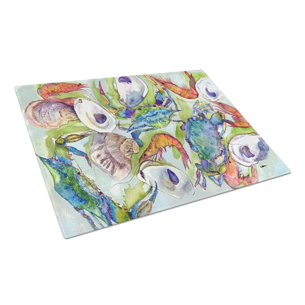 Caroline S Treasures Crab Tempered Glass Large Heat Resistant Cutting Board 8547lcb The Home Depot