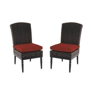 Camden Dark Brown Wicker Outdoor Patio Armless Dining Chair with Sunbrella Henna Red Cushions (2-Pack)