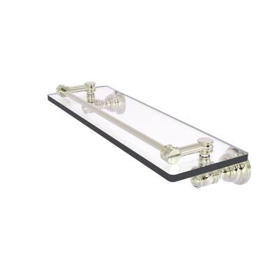 Carolina 16 in. Glass Shelf with Gallery Rail in Polished Nickel